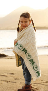Irish Cable Knit Sheep & Shamrock Throw