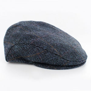 Mucross Weavers Trinity Traditional Wool Irish Flat Cap Blue herringbone