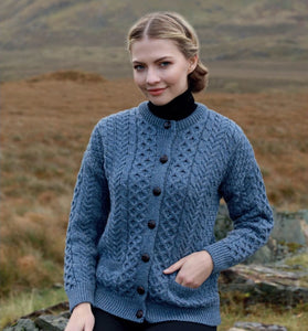 Traditional Ladies 100% Merino Aran Cardigan Blue