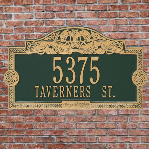 Green/gold Celtic Dragon Personalized Metal Address Plaque