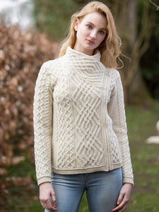 Natural Fashion Forward Short Aran Side Zip Cardigan