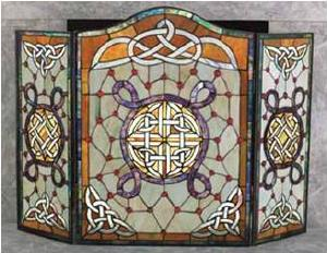 Stained Glass Celtic Fireplace Screen