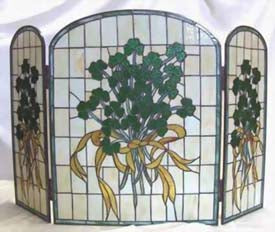 Stained Glass Shamrock Fireplace Screen