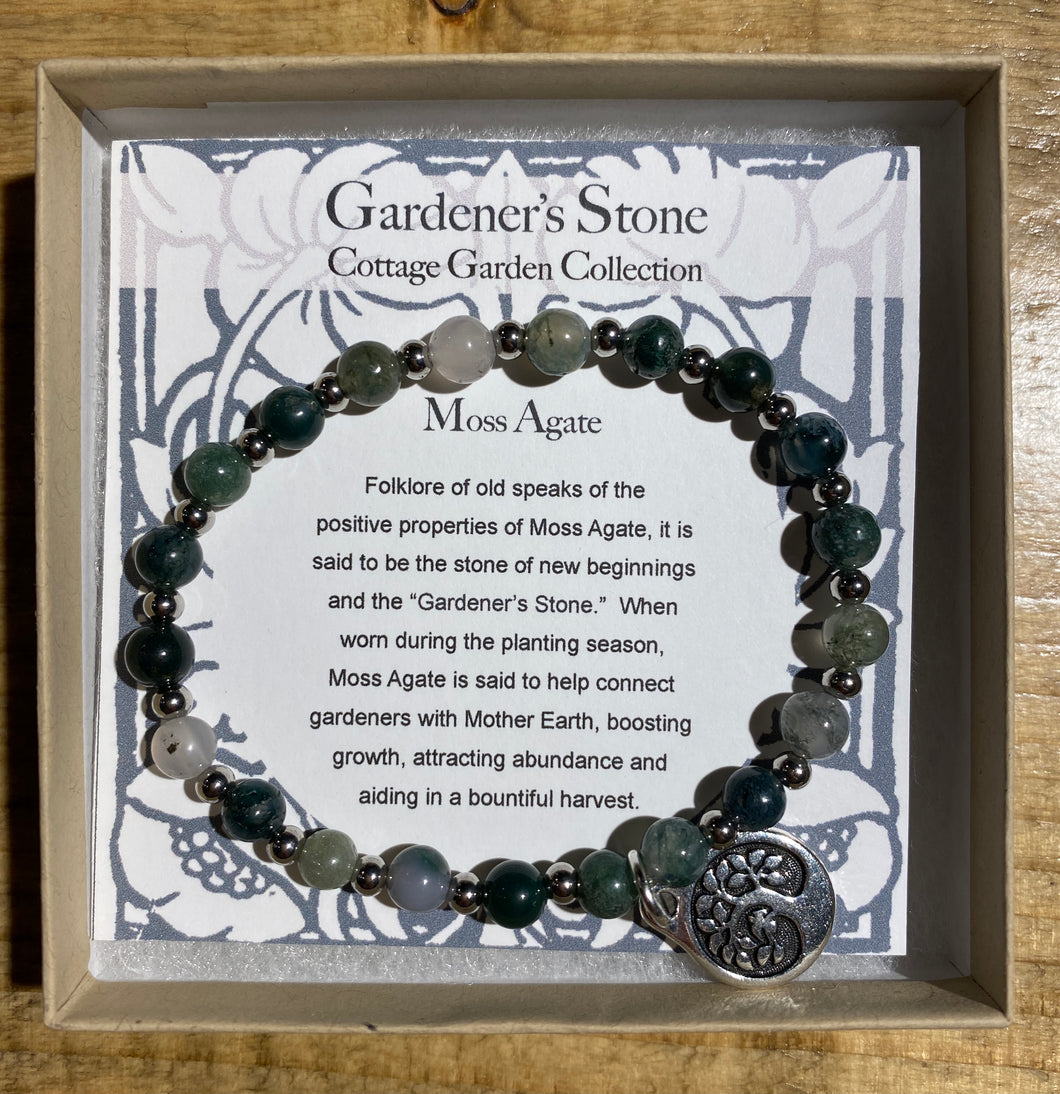 Gardener's Stone Moss Agate Bracelet with Tree of Life
