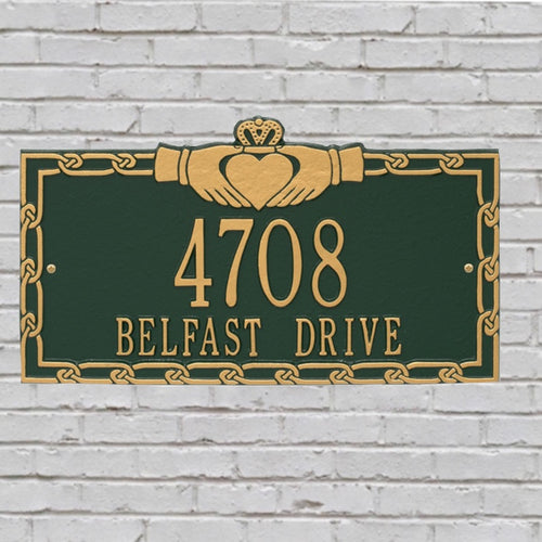 Green Black/gold claddagh address plaque