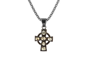 Black Rhodium Sterling Silver Raw Diamond Celtic Cross