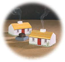 Ceramic Irish Cottage with peat incense and stone burner
