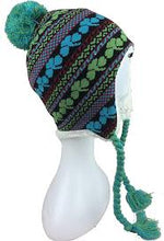 Knit Shamrock Pattern Beanie Hat Cap with Earflaps and Pom