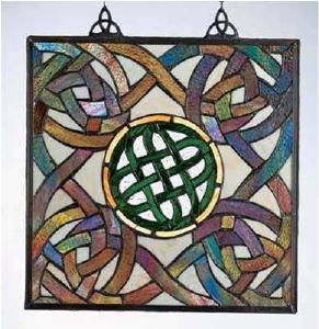 Square Celtic Knot Stained Glass Window