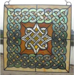 Square Celtic Stained Glass Window