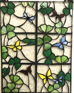 Stained Glass Shamrock and Butterfly Window