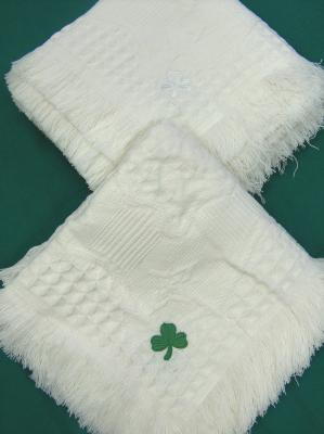 Blanket with Embroidered Shamrock