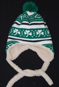 Fleece Lined Child's Shamrock Knit Hat