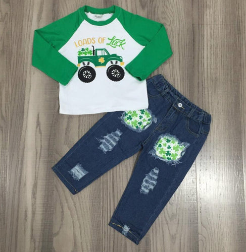 Shamrock jeans and baseball shirt