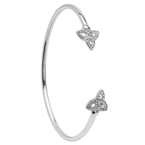 Silver Celtic Bangle Adorned With Swarovski Crystal