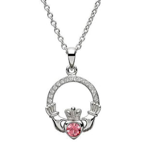 Claddagh Birthstone Pendant Adorned With Swarovski Crystal