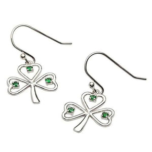 Stone Set Shamrock Silver Necklace