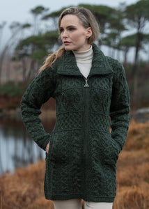 Double Collar Aran Cable Knit Irish Sweater