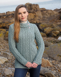 Meath Side Button Aran Cardigan