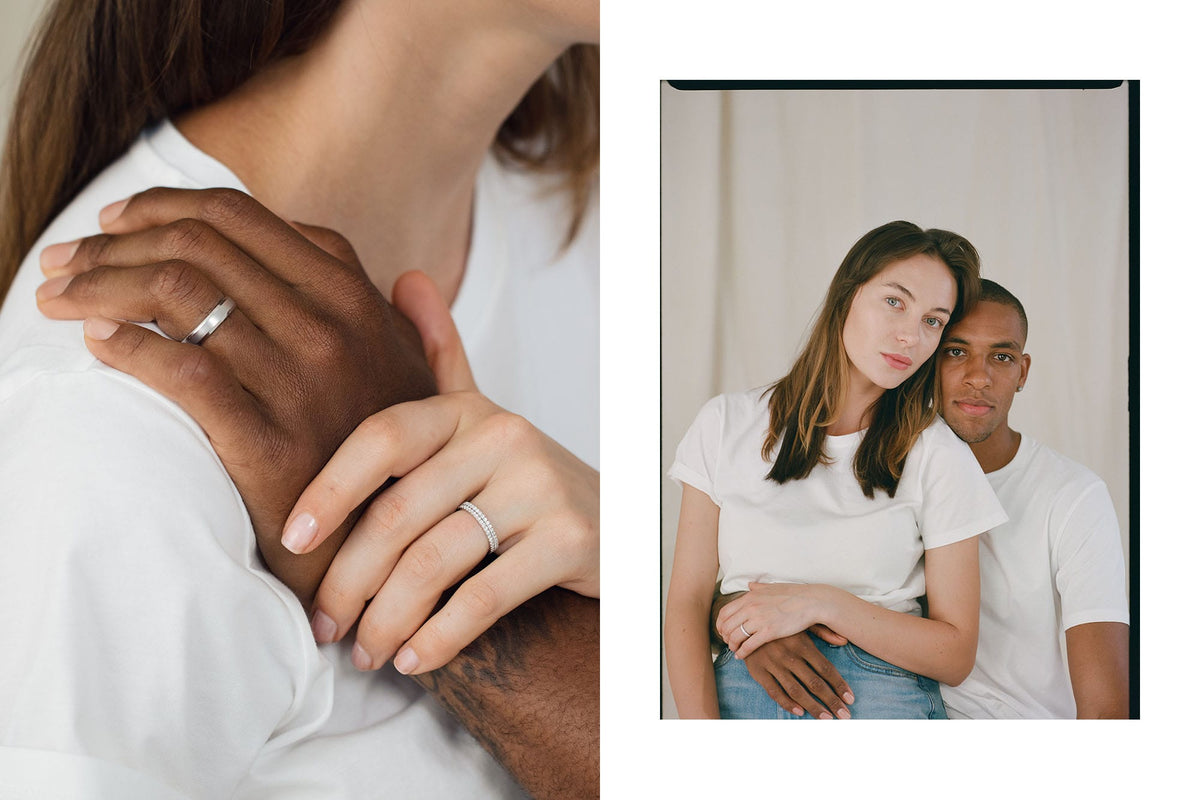 Couple wearing HOLDEN wedding rings