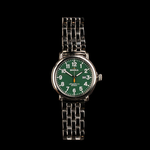 The Runwell 47mm with Green Dial and Silver 5 Link Bracelet