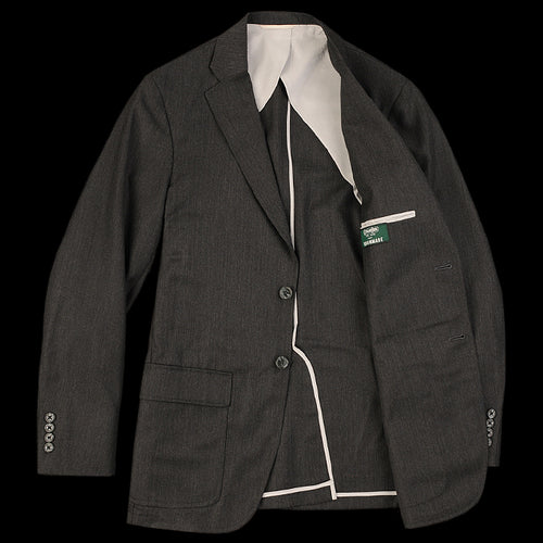 Harrison Suit Jacket in Charcoal Wool Oxford Weave