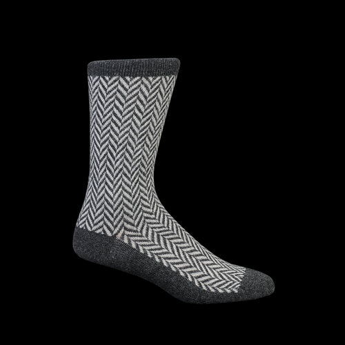 Wool Herringbone Crew Sock in Charcoal