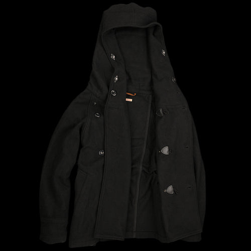 British Melton Wool TRI-P Coat in Black