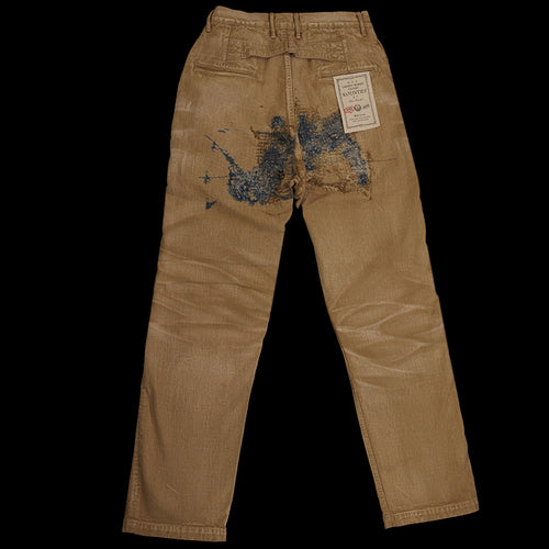 Kountry Yagu Damaged Chino Pant in Beige