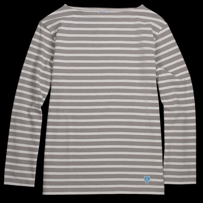 Orcival - Striped Long Sleeve Tee in Cloud & White