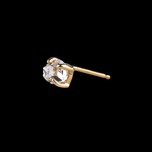Single Large Herkimer Diamond Stud in 14K Gold