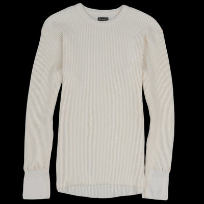 Homespun Knitwear - Bulky Waffle Crew Thermal in Antler White