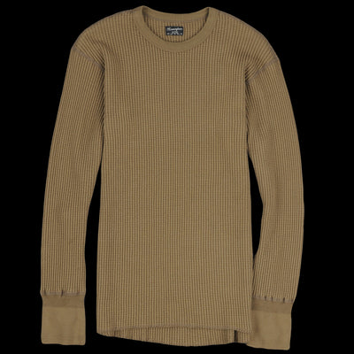 Homespun Knitwear - Bulky Waffle Crew Thermal in Hunter Olive