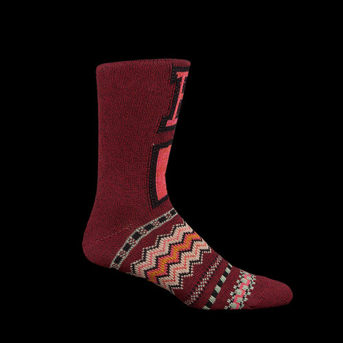 96 Thread Letter Boro Sock in Bordeaux