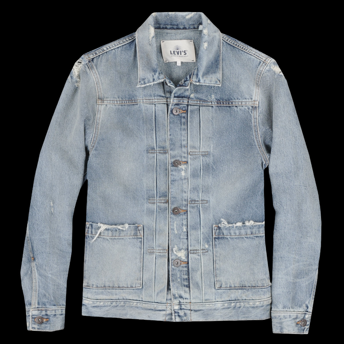98c06c2e0da Levi s Made   Crafted - Type II Worn Trucker Jacket in Trashed ...