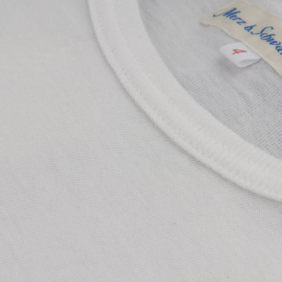Merz B. Schwanen - 1950s Organic Cotton Crew Neck Tee in White