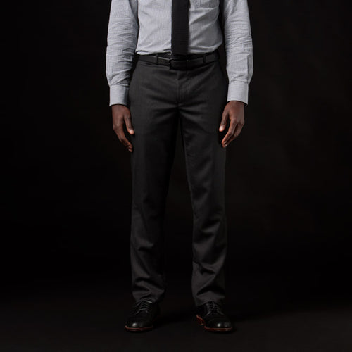 Harrison Suit Pant in Charcoal Wool Oxford Weave