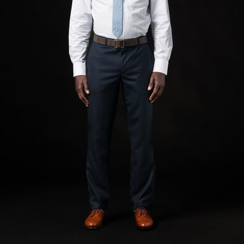 Harrison Suit Pant in Navy Wool Oxford Weave
