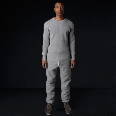 Homespun Knitwear - Bulky Waffle Crew Thermal in Grey