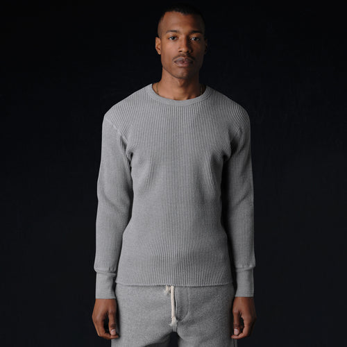 Bulky Waffle Crew Thermal in Grey