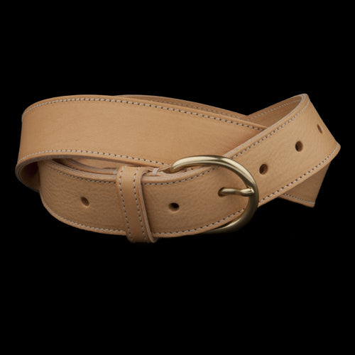 Belt with Brass Buckle in Natural
