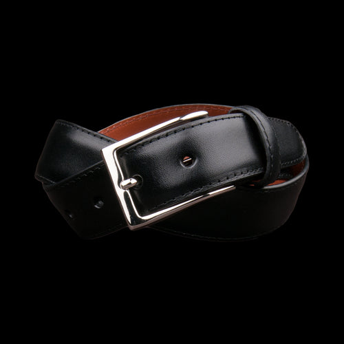 30mm Smooth Calf Leather Belt with Nickel Buckle in Black 0111