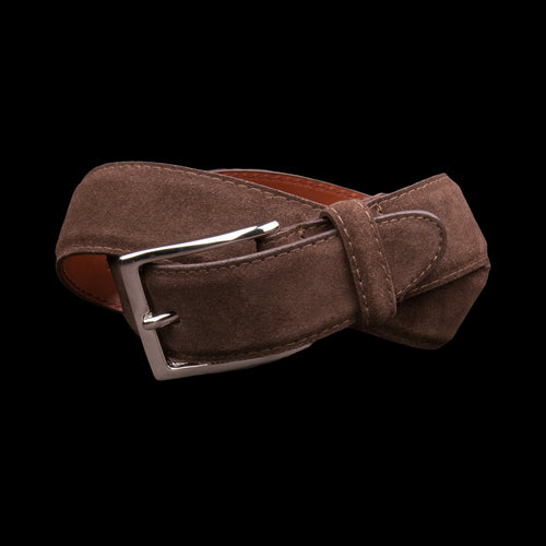 30mm Suede Dress Belt with Nickel Buckle in Dark Brown 5215