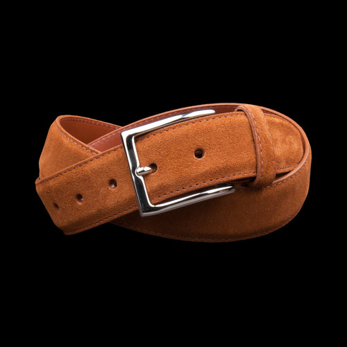 30mm Suede Dress Belt with Nickel Buckle in Snuff Suede 5214