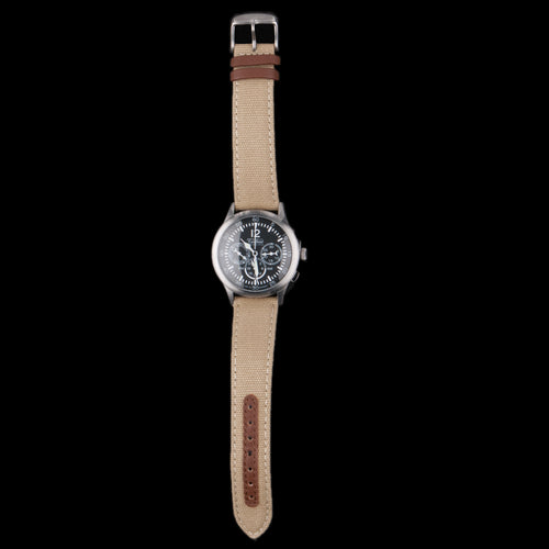 Merlin 296 Steal Quartz 280mm Watch with Canvas Strap in Khaki