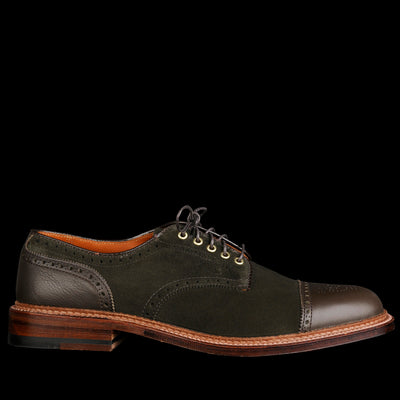 Alden - Alder Two Tone Cap Toe in Hunting Green Suede with Dark Loden D6516