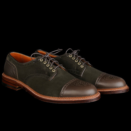 Alder Two Tone Cap Toe in Hunting Green Suede with Dark Loden D6516