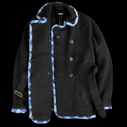 Tyrol Wool Remake Piping Short Trench Coat in Black