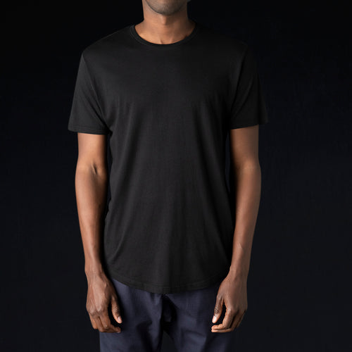 Hand Pigment Dyed Crew in Black