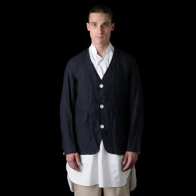 Haversack - Poplin Collarless Jacket in Indigo